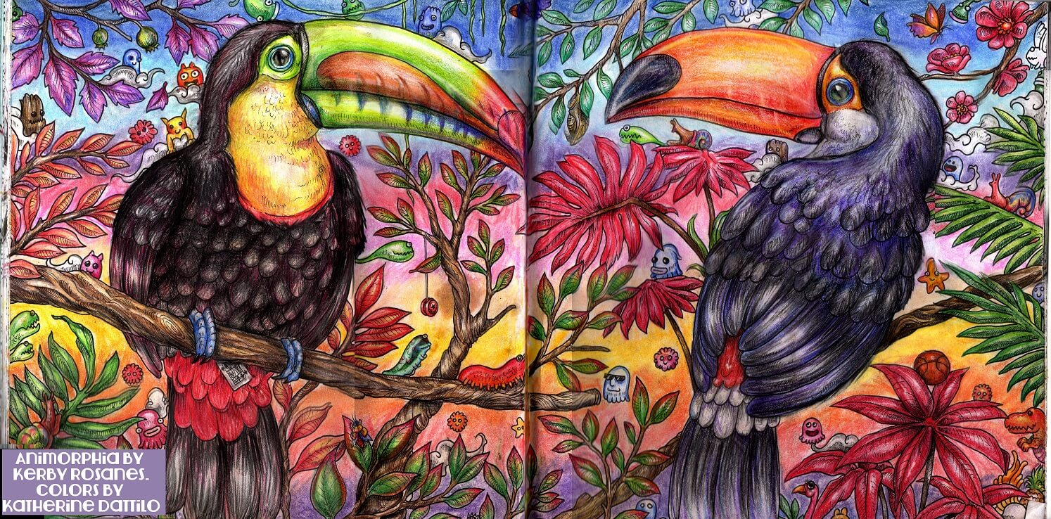 Animorphia Coloring Book, Toucans Process Tutorial