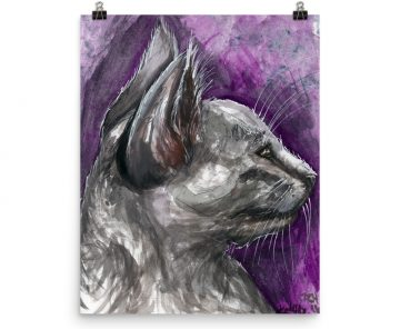 Watercolor Kitten Glossy Poster